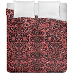 Damask2 Black Marble & Red Glitter Duvet Cover Double Side (california King Size) by trendistuff