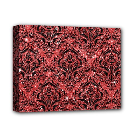 Damask1 Black Marble & Red Glitter Deluxe Canvas 14  X 11  by trendistuff