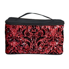 Damask1 Black Marble & Red Glitter Cosmetic Storage Case