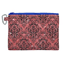 Damask1 Black Marble & Red Glitter Canvas Cosmetic Bag (xl) by trendistuff