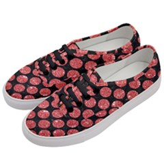Circles2 Black Marble & Red Glitter (r) Women s Classic Low Top Sneakers by trendistuff