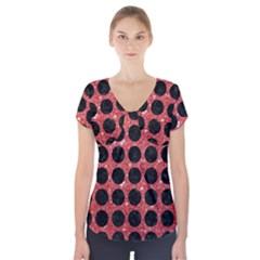 Circles1 Black Marble & Red Glitter Short Sleeve Front Detail Top by trendistuff