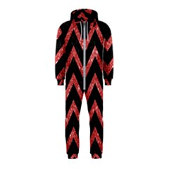 Chevron9 Black Marble & Red Glitter (r) Hooded Jumpsuit (kids)