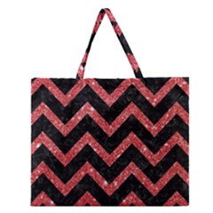 Chevron9 Black Marble & Red Glitter (r) Zipper Large Tote Bag by trendistuff