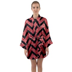 Chevron9 Black Marble & Red Glitter Long Sleeve Kimono Robe