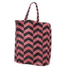 Chevron2 Black Marble & Red Glitter Giant Grocery Zipper Tote by trendistuff