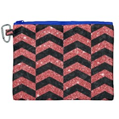 Chevron2 Black Marble & Red Glitter Canvas Cosmetic Bag (xxl) by trendistuff