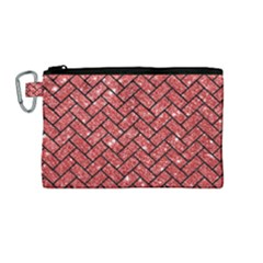 Brick2 Black Marble & Red Glitter Canvas Cosmetic Bag (medium) by trendistuff