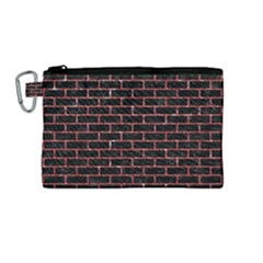 Brick1 Black Marble & Red Glitter (r) Canvas Cosmetic Bag (medium) by trendistuff