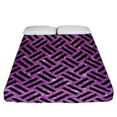 Woven2 Black Marble & Purple Glitter Fitted Sheet (queen Size) by trendistuff