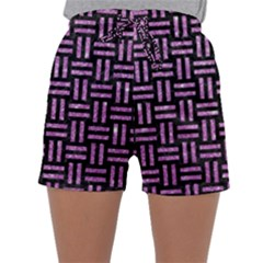 Woven1 Black Marble & Purple Glitter (r) Sleepwear Shorts