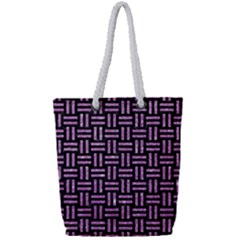 Woven1 Black Marble & Purple Glitter (r) Full Print Rope Handle Tote (small) by trendistuff
