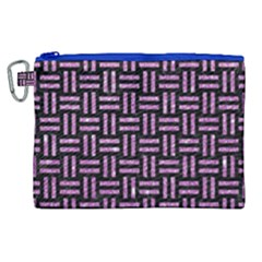 Woven1 Black Marble & Purple Glitter (r) Canvas Cosmetic Bag (xl)