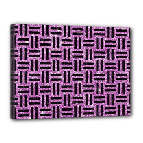 Woven1 Black Marble & Purple Glitter Canvas 16  X 12  by trendistuff