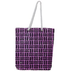 Woven1 Black Marble & Purple Glitter Full Print Rope Handle Tote (large) by trendistuff