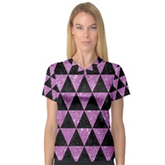 Triangle3 Black Marble & Purple Glitter V Neck Sport Mesh Tee by trendistuff