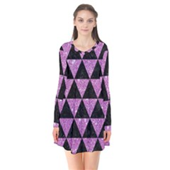 Triangle3 Black Marble & Purple Glitter Flare Dress by trendistuff