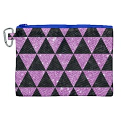 Triangle3 Black Marble & Purple Glitter Canvas Cosmetic Bag (xl) by trendistuff