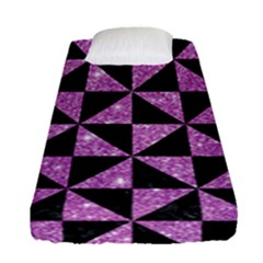 Triangle1 Black Marble & Purple Glitter Fitted Sheet (single Size) by trendistuff