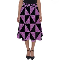 Triangle1 Black Marble & Purple Glitter Perfect Length Midi Skirt