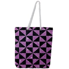 Triangle1 Black Marble & Purple Glitter Full Print Rope Handle Tote (large) by trendistuff