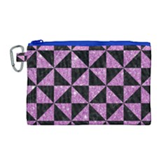 Triangle1 Black Marble & Purple Glitter Canvas Cosmetic Bag (large) by trendistuff