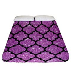 Tile1 Black Marble & Purple Glitter Fitted Sheet (california King Size)