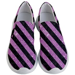 Stripes3 Black Marble & Purple Glitter Women s Lightweight Slip Ons