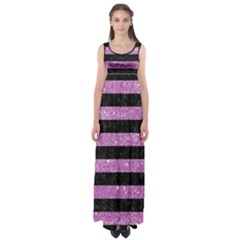 Stripes2black Marble & Purple Glitter Empire Waist Maxi Dress