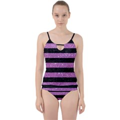 Stripes2black Marble & Purple Glitter Cut Out Top Tankini Set by trendistuff