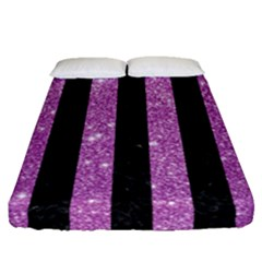 Stripes1 Black Marble & Purple Glitter Fitted Sheet (queen Size) by trendistuff