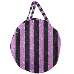 Stripes1 Black Marble & Purple Glitter Giant Round Zipper Tote by trendistuff