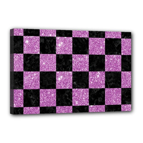 Square1 Black Marble & Purple Glitter Canvas 18  X 12  by trendistuff