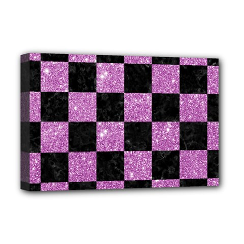 Square1 Black Marble & Purple Glitter Deluxe Canvas 18  X 12   by trendistuff