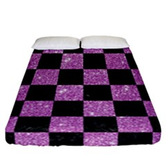 Square1 Black Marble & Purple Glitter Fitted Sheet (california King Size) by trendistuff