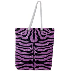 Skin2 Black Marble & Purple Glitter Full Print Rope Handle Tote (large) by trendistuff