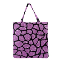 Skin1 Black Marble & Purple Glitter (r) Grocery Tote Bag by trendistuff