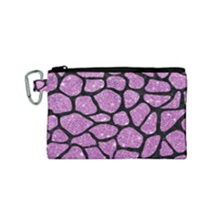 Skin1 Black Marble & Purple Glitter (r) Canvas Cosmetic Bag (small) by trendistuff