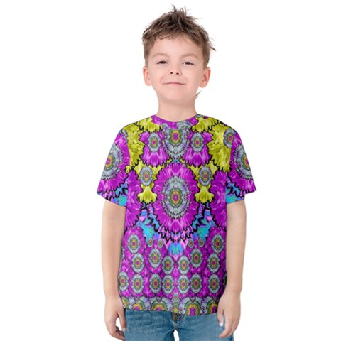 Fantasy Bloom In Spring Time Lively Colors Kids  Cotton Tee by pepitasart