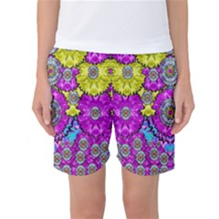 Fantasy Bloom In Spring Time Lively Colors Women s Basketball Shorts by pepitasart