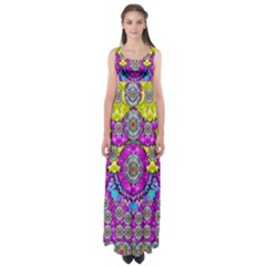 Fantasy Bloom In Spring Time Lively Colors Empire Waist Maxi Dress by pepitasart