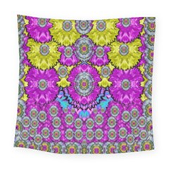 Fantasy Bloom In Spring Time Lively Colors Square Tapestry (large) by pepitasart