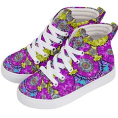 Fantasy Bloom In Spring Time Lively Colors Kid s Hi Top Skate Sneakers by pepitasart