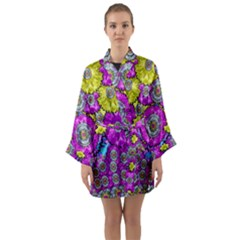 Fantasy Bloom In Spring Time Lively Colors Long Sleeve Kimono Robe by pepitasart