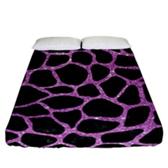 Skin1 Black Marble & Purple Glitter Fitted Sheet (california King Size) by trendistuff