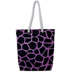Skin1 Black Marble & Purple Glitter Full Print Rope Handle Tote (small) by trendistuff
