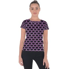 Scales3 Black Marble & Purple Glitter (r) Short Sleeve Sports Top