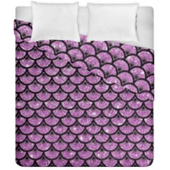 Scales3 Black Marble & Purple Glitter Duvet Cover Double Side (california King Size) by trendistuff