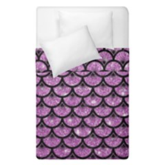 Scales3 Black Marble & Purple Glitter Duvet Cover Double Side (single Size) by trendistuff