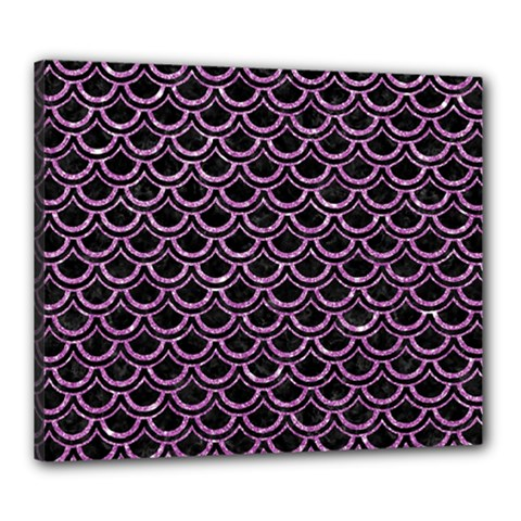 Scales2 Black Marble & Purple Glitter (r) Canvas 24  X 20  by trendistuff